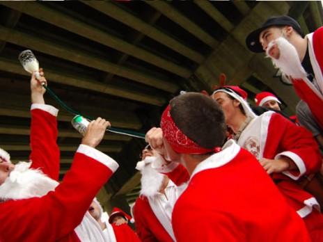 the influx of drunk santas