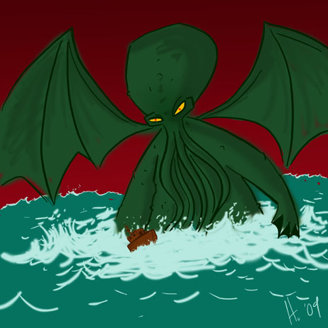 Cthullu drawing and Cthullu song