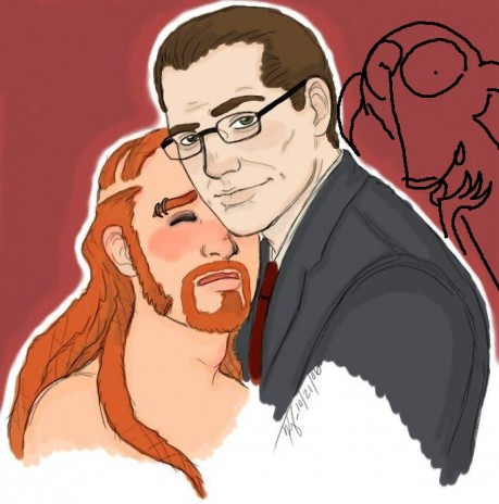 """th's hips in bI can't suck you,"""" Pickles chuckled, licking Seth's ear.  He grabbed Seth's cock.A  soft kiss on the neck."""