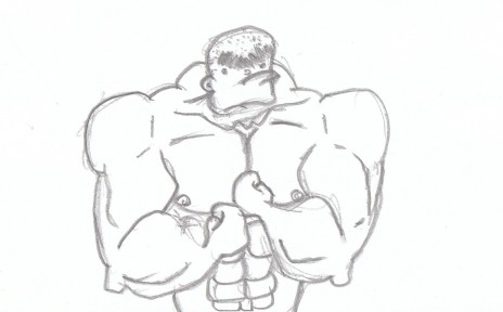 Drawing of a very strong man