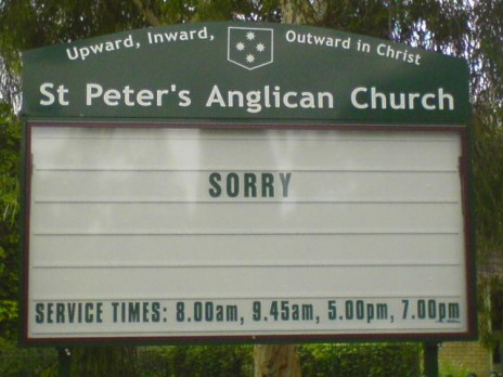 "Church says ""Sorry"""