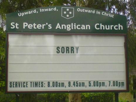 """Church says """"Sorry"""""""