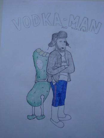 Superheroes VODKAMAN and pickleboy