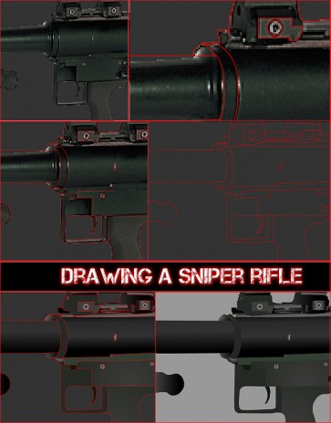 Drawing a Sniper Rifle Close Up