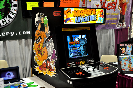 Come see us at Comic-Con booth # E10 and play Abobo's Big Adventure! Wear Abobo on your face!!