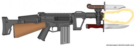 Flaming Bayonets (An Unusable Gun made by me)