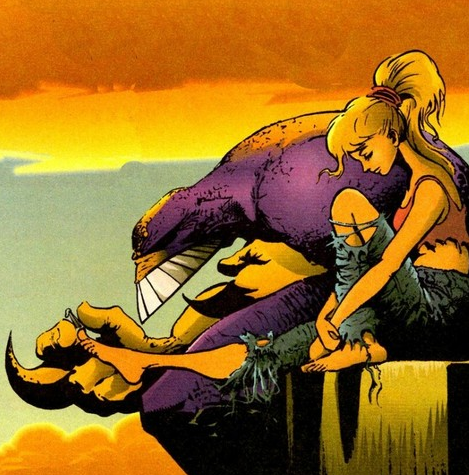 The life changing experience of watching a girl biting her toenails, beside a purple monster...