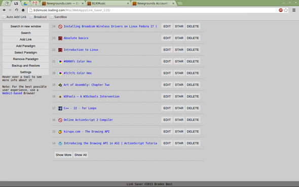 Link Saver versions list