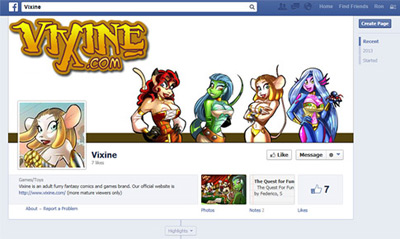 Vixine Facebook is now Live!