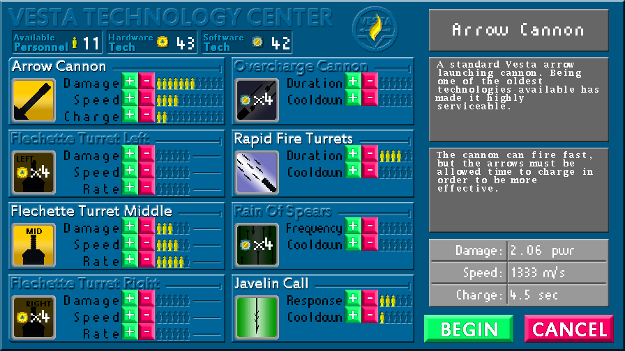 A screenshot of the upgrade menu