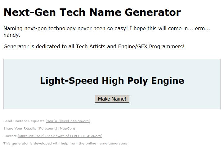 Next Gen Tech name Generator
