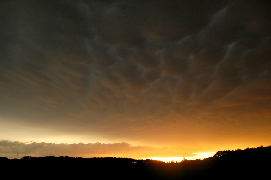 Mammatus clouds and sunset