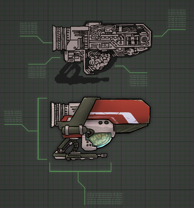 Science fiction ship schematics from the game Spellblast