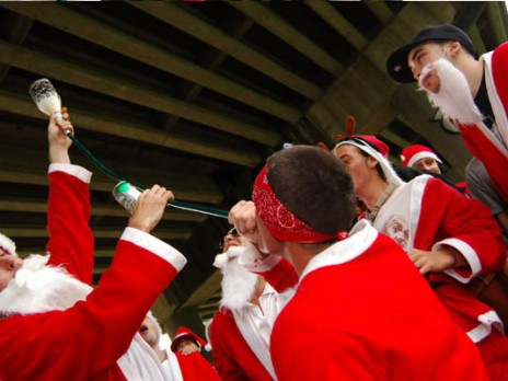 the influx of drunk santas