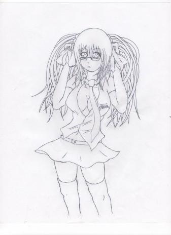Random Uncolored Schoolgirl