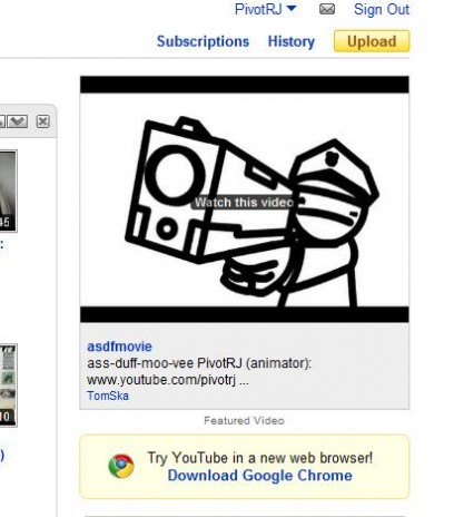asdfmovie hits YouTube front page!