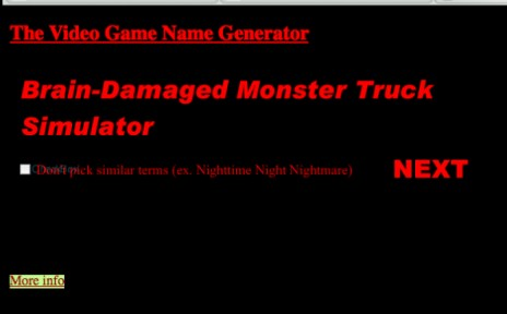 The Video Game Name Generator