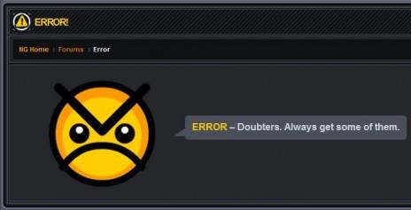 Doubters error message?