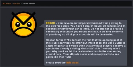 Banned from the BBS
