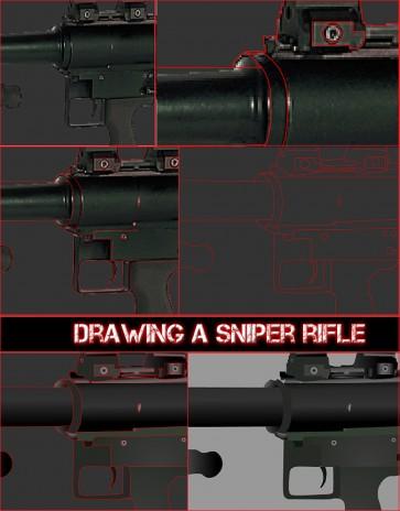 Drawing a Sniper Rifle Close Up