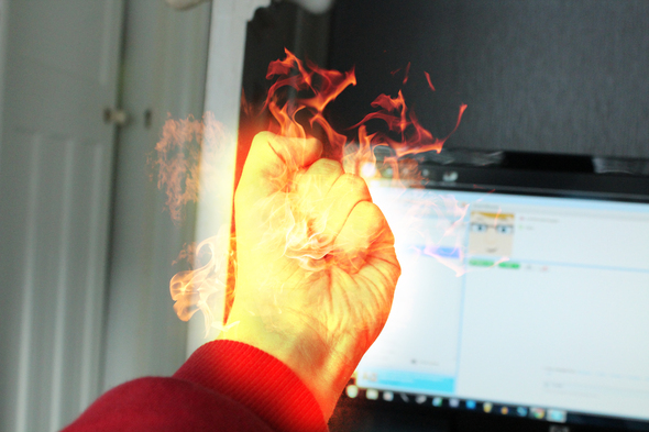 MY HAND IS ON FIRE!!!!