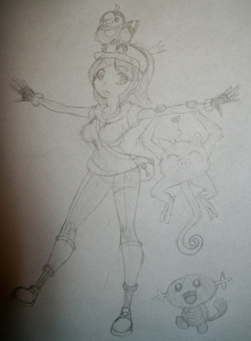 Girl Trainer, Fuuka with Pokemon