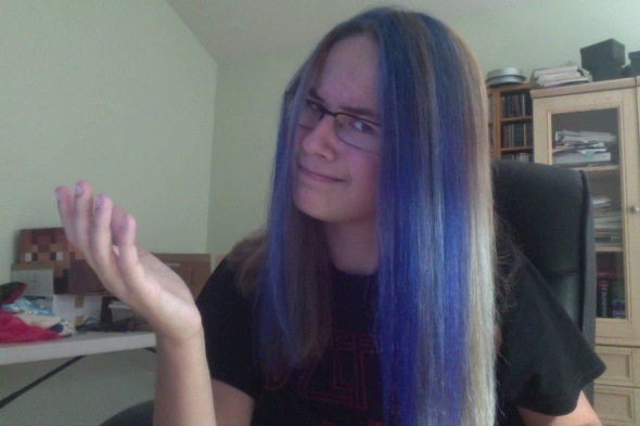 Got my hair highlighted blue today.