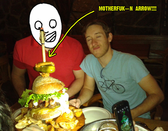I ate a giant hamburger and won free fries for life