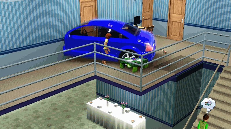 A car in the 2sd floor.