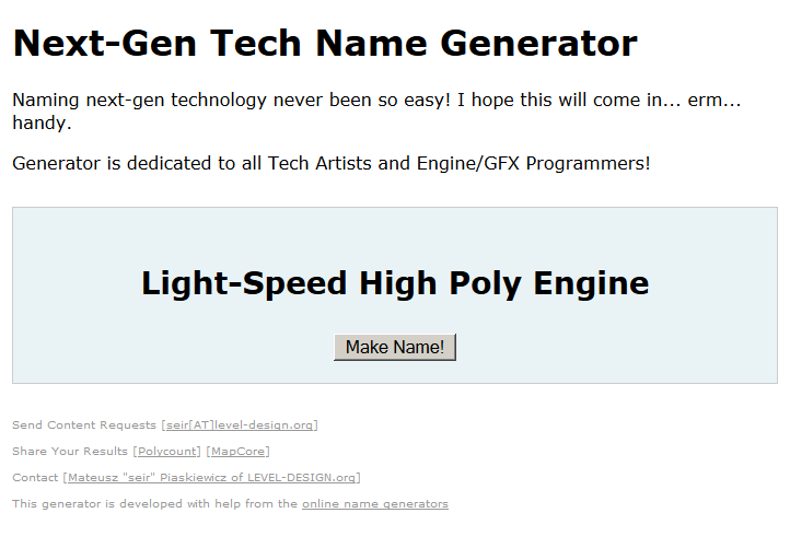 Next Gen Tech name Generator